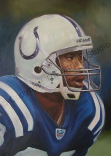 Original Football Oil Painting Marvin Harrison Framed