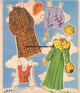 Vintage 1950 Mary Jo Paper Dolls Lazer RPRO ORG Sz