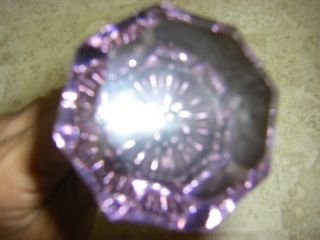 Antique Victorian Vintage Purple Amethyst Glass Brass Door Knobs