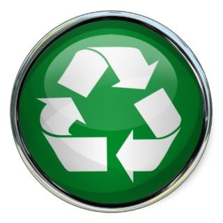 Recycle Logo in Glass (set of 6/20) Stickers