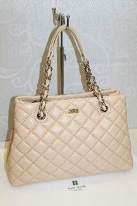 Kate Spade Gold Coast Maryanne Quilted Cashew Leather Satchel Bag #KS