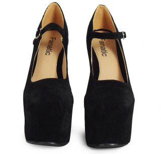 Womens Ladies Black Spike Stud Mary Jane Heel Less High Platform Wedge