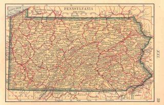 Pennsylvania Maryland Antique Map Ivison 1887
