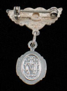 Vintage Sterling Silver Enamel Baby Wings Miraculous Medal Unusual Pin