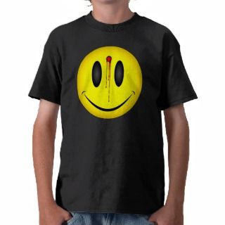 Happy Face Bullet Hole T Shirts