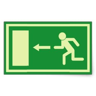 Official Euro Emergency, fire exit sign (left) Rectangle Stickers