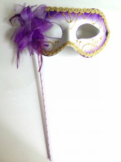 Purple Rose Venetian Mardi Gras Masquerade Halloween Hand Held Stick