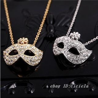 Masquerade Mask Pendant Flower Crystal Rhinestone Necklace Hot Golden
