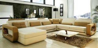 Vig Furniture 1005 Beige Brown Bonded Leather Sectional Sofa