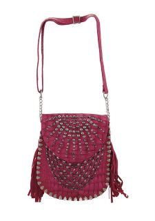 Gunmetal Rhinestone Studded Pink Messenger Bag