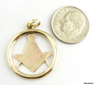 Masonic 10K Yellow Gold Square Compass Emblem Blue Lodge Member Fob