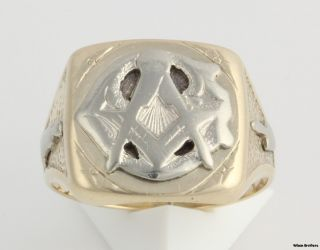 Blue Lodge Masonic Vintage Band 10K Yellow White Gold Ring 7 G Masons