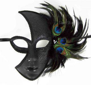 Venetian Full Face Jester Mask Masquerade Black Glitter Peacock