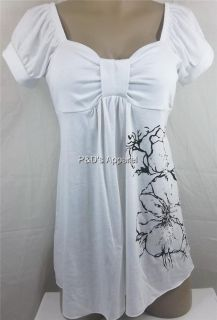 New Womens Maternity Clothes White Flower Design Shirt Top Blouse s M