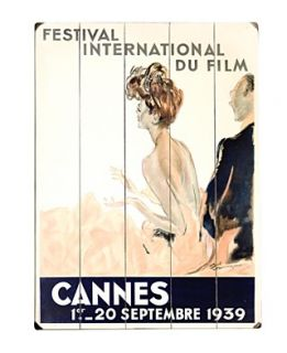 ArteHouse Wall Art, 1939 Cannes Film Festival Wooden Sign