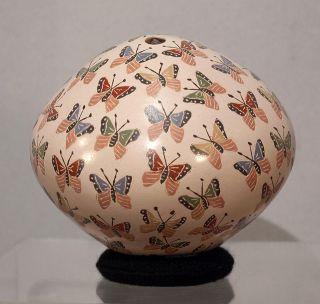 Very Nice 2009 Mata Ortiz Mexico Pottery Folk Art Butterfly Pot Olla