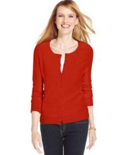 Karen Scott Cardigan, Long Sleeve Cotton   Womens