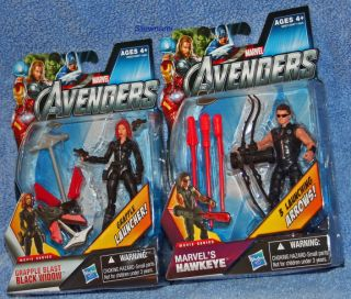 Marvel Avengers Movie Grapple Blast Black Widow Hawkeye Action Figure