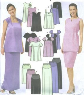 Misses Maternity Evening Skirt Top Sewing Pattern Straps Tie Sleeve