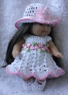 Crocheted Set Clothes for 5 inch Berenguer Doll Itty Bitty OOAK