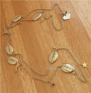 Disney Couture Oval Believe Long Gold Necklace Tinkerbell Stars HTF 36