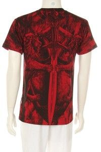 Mens Best Selling Lion Sword Design Hot Red New T Shirt