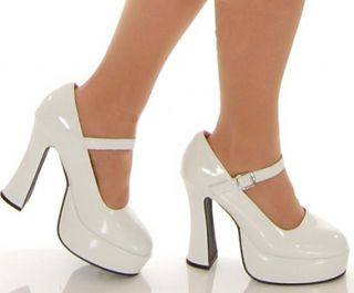 White Mary Janes Chunky Heel Platform Jane Shoes