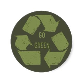 Go Green Recycle Logo Round Stickers