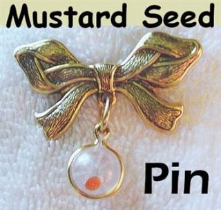 1960 Style Mustard Seed Bow Pin Ball Charm with Bible Verse Card in