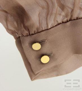 Matthew Williamson Light Brown Silk Pintuck Blouse Size 10 New