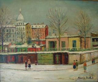 Oil Painting of a French Townscape by Maurice Utrillo, Important