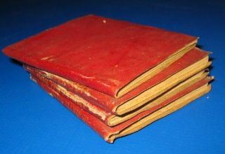 Collectible Little Leather Library 4 Red Mini Books