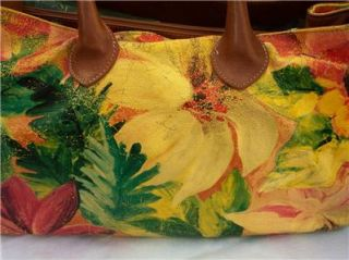Maurizio Taiuti Big Floral Hand Painted Italian Leather Shopper Tote