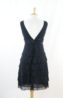 BCBG Max Azria Black Silk Sleeveless Cocktail Tiered Dress Size 2
