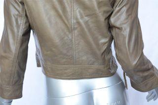 Matthew Williamson H M Womens Olive Green Leather Biker Cropped Jacket