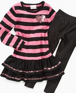 Flapdoodles Kids Set, Little Girls Sequin Stripe Dress with Legging