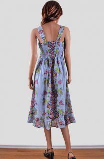 Print Cotton Smock Ruffle Beach Sundress Long Maxi Dress L LRG