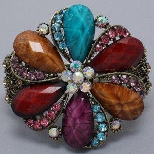 Flower Antique Gold Statement Costume Jewelry Cuff Bracelet