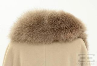 MaxMara Beige Wool Removable Fox Fur Collar Long Belted Coat US 10 New