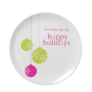 Retro Modern Holiday Ornaments Christmas Plate