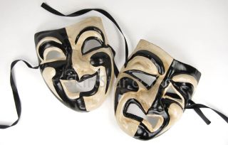 Comedy Tragedy Masks Set Wear or Hang Wall Black White Renaissance