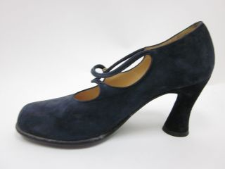 Maud Frizon Blue Suede Mary Janes French Sz 3 5 6 5