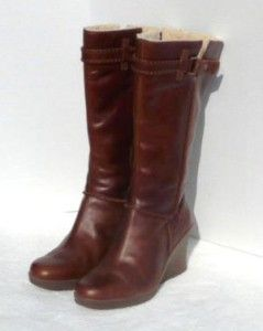 275 UGG Maxene Wedge Tall Leather Boots US 10 EU 41 Chocolate Brown