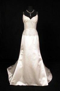 Justina McCaffrey Laudante Ivory Silver Silk Lace Bridal Wedding Dress