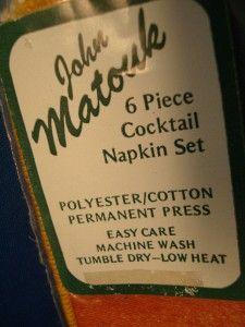 John Matouk Cocktail Napkins 6 Washable Fabric Napkin Set Gold Green