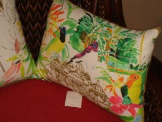 ANTHROPOLOGIE PILLOWS REBEKAH MAYSLES FOREST BIRDS CORAL & CHARTREUSE