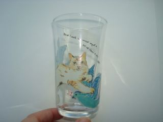 New Anthropologie Juice Tumbler Glass Cat Birds