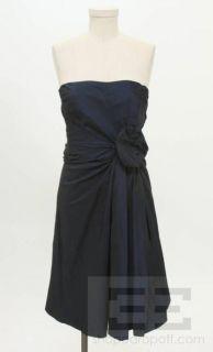Max Mara Navy Blue Silk Rosette Cocktail Dress Size 4