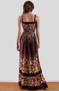 Floral Print Smocked Beach Floor Length Maxi Long Sun Dress Plus 1Size