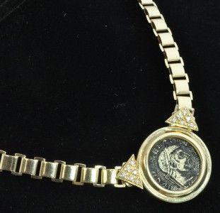 14k Yellow Gold Ancient Maximian Coin Diamond Pendant Necklace